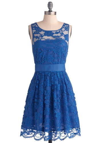 When the Night Comes Dress in Blue by BB Dakota - Blue, Lace, Wedding, Party, A-line, Sleeveless, Mid-length, Exclusives, Solid, Variation, Bridesmaid, Graduation, Daytime Party