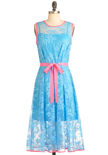 Contemporary Classic Dress by Eva Franco - Long, Blue, Pink, Floral, Lace, Party, Shift, Sleeveless, Belted, Pastel, Neon, Sheer, Tis the Season Sale