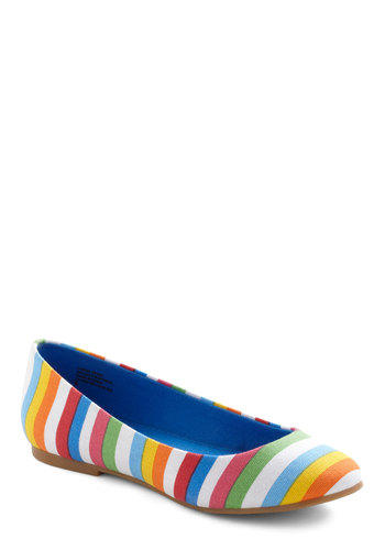 A Night to Remember Flat in Stripes by BC Shoes - Multi, Stripes, Flat, Orange, Yellow, Green, Blue, Pink, White, Casual
