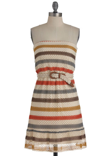 Bohemian Dreamin' Dress - Red, Yellow, Blue, Brown, Stripes, Crochet, Casual, A-line, Strapless, Belted, Multi, Tan / Cream, Mid-length