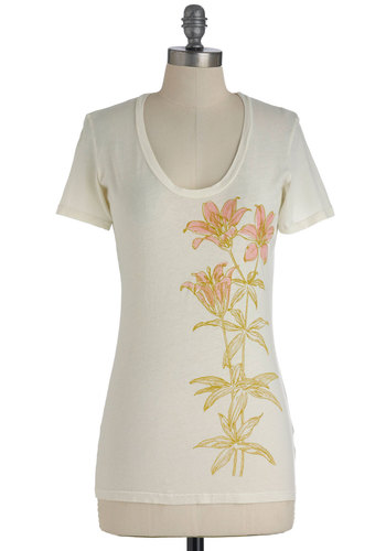 Best Day Lily Ever Tee - Cream, Green, Pink, Floral, Casual, Short Sleeves, Mid-length
