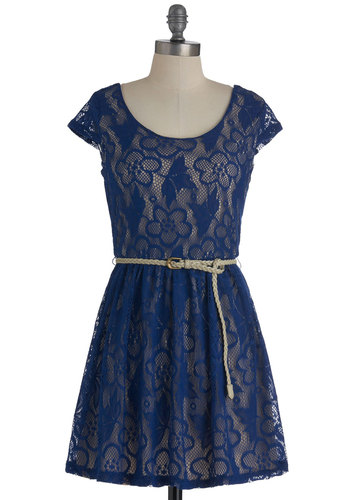 Bright There Dress in Blue - Short, Blue, Floral, Lace, A-line, Cap Sleeves, Belted, Casual, Variation