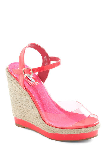 For Future Reference Wedge - Pink, Tan / Cream, Woven, Casual, Urban, 80s, Summer, Wedge, Solid, Vintage Inspired