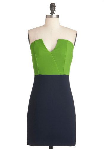 Pop Horticulture Dress - Green, Party, Sheath / Shift, Strapless, Girls Night Out, Blue, Mid-length, Bodycon / Bandage
