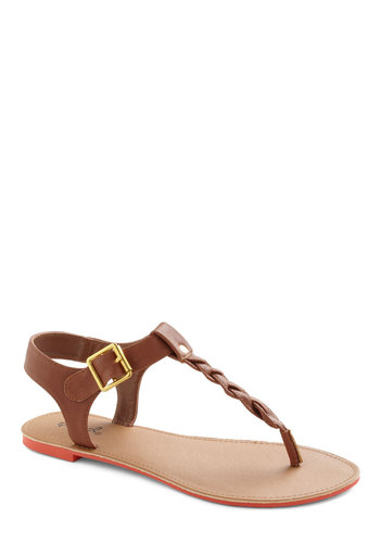 You've Got It Braid Sandal - Solid, Braided, Summer, Flat, Brown, Buckles
