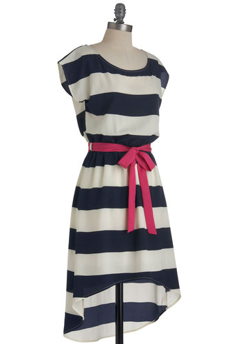 Lighthouse It Going? Dress - Short, White, Stripes, Casual, Nautical, Short Sleeves, Belted, High-Low Hem, Blue