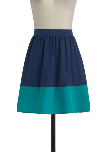 Sway and Simple Skirt in Ocean - Blue, Green, Casual, A-line, Short, Colorblocking