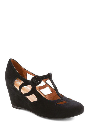 Pane and Simple Wedge by Jeffrey Campbell - Wedge, Black, Solid, Cutout, Mid, Variation, Best, T-Strap