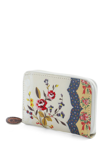 Floral Affection Wallet by Disaster Designs - White, Multi, Floral, Folk Art, Multi, Faux Leather