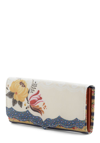 Bouquet Browsing Wallet by Disaster Designs - Multi, Floral, Folk Art, Multi, Scallops