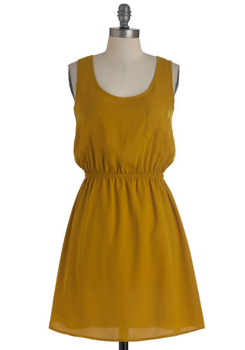 A Side of Sunny Dress - Yellow, Solid, Pockets, Casual, A-line, Tank top (2 thick straps), Mid-length, Cutout, Summer
