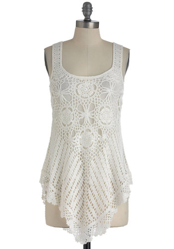 Share Thing Top - White, Solid, Crochet, Casual, Tank top (2 thick straps), Short, Boho, Summer