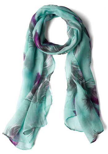 Feather or Knot Scarf - Blue, Casual, Boho, Purple, Grey, Print