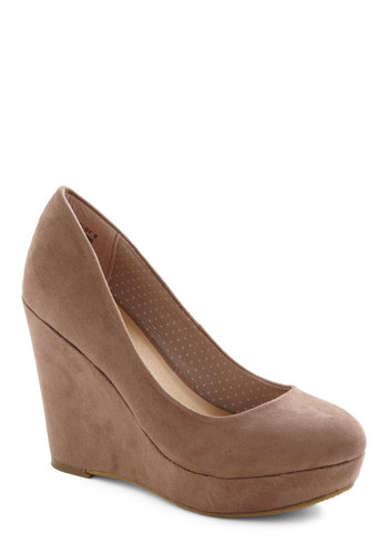 Writer's Colorblock Wedge - Wedge, Tan, Solid, High, Work, Platform