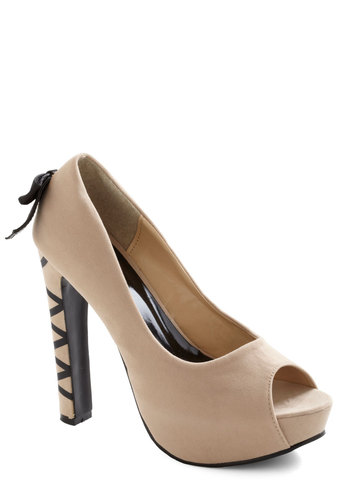 Burlesque is More Heel - Tan, Black, Bows, High, Peep Toe