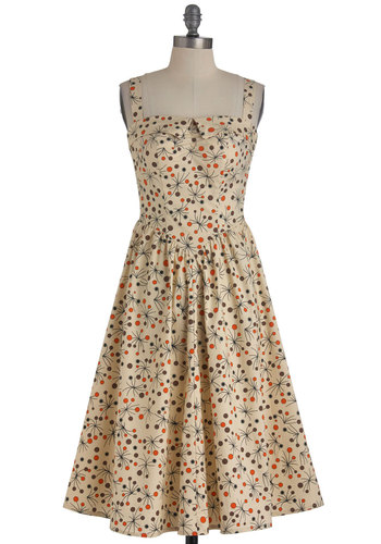 Basque in the Memories Dress by Bettie Page - Long, Orange, Brown, Black, Print, Party, A-line, Multi, Tan / Cream, Vintage Inspired, 50s, Spaghetti Straps, Pinup, Cotton, Fit & Flare, Sweetheart