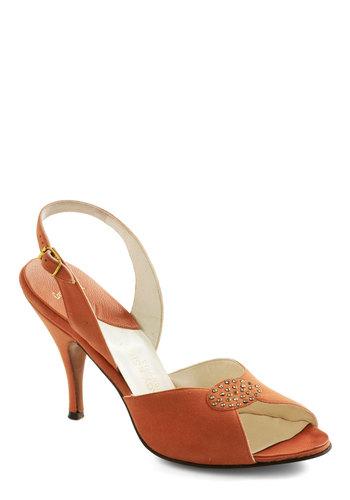 Vintage Reserve Deanie Heel - Orange, Solid, Rhinestones, Mid, Peep Toe, Slingback, Vintage Reserve, Party, 50s