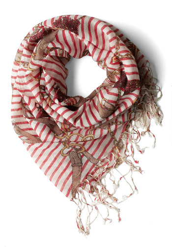 Dont Skipper Dessert Scarf - Stripes, Fringed, Casual, Nautical, Red, Yellow, Tan / Cream