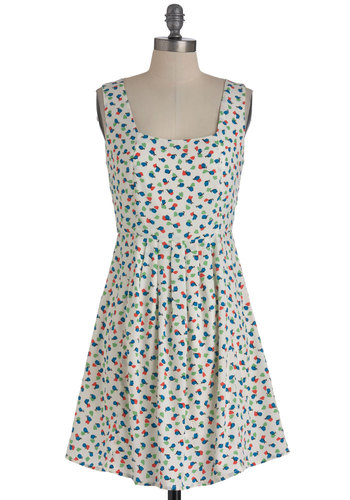Picking Precious Petals Dress - White, Multi, Print, Casual, A-line, Tank top (2 thick straps), Summer, Mid-length, Multi, Red, Yellow, Green, Blue