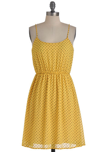 Try As You Maize Dress - Yellow, Polka Dots, Casual, A-line, Spaghetti Straps, Summer, Mid-length, Black