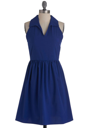 Azure as Dawn Dress - Mid-length, Blue, Solid, Cutout, Party, A-line, Sleeveless, Summer, Collared, Fit & Flare, V Neck