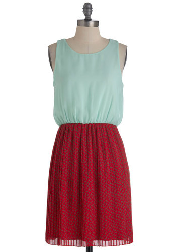 Petit Fleurs Dress - Mid-length, Red, Green, Pleats, Twofer, Sleeveless, Casual