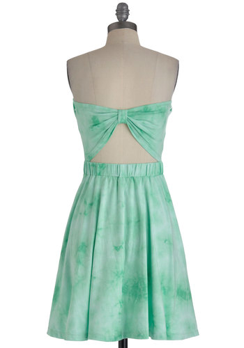 Mojito Sipping Dress - Green, Tie Dye, Cutout, Casual, A-line, Strapless, Summer, Cotton, Mint, Mid-length, Fit & Flare, Beach/Resort