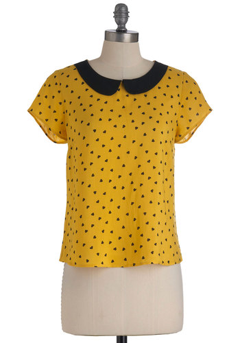Yellow, My Love Top - Short, Yellow, Black, Peter Pan Collar, Casual, Short Sleeves, Novelty Print