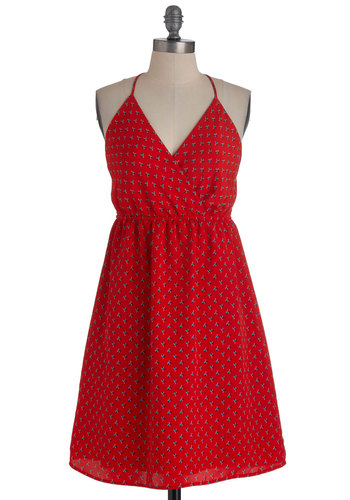 Carmine and Yours Dress - Mid-length, Red, Blue, Black, White, Print, Backless, Casual, A-line, Halter, Summer, V Neck