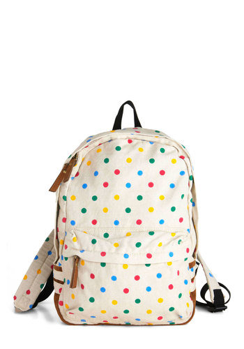 For All You Carry Backpack - White, Multi, Polka Dots