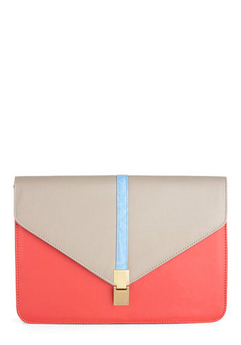 Statement to Be Clutch - Orange, Blue, Colorblocking, 80s, Tan / Cream, Vintage Inspired, Girls Night Out, Faux Leather