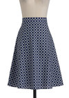 Put a Ring On It Skirt - Long, Blue, White, Casual, A-line, Print, High Waist, Cotton, Fit & Flare