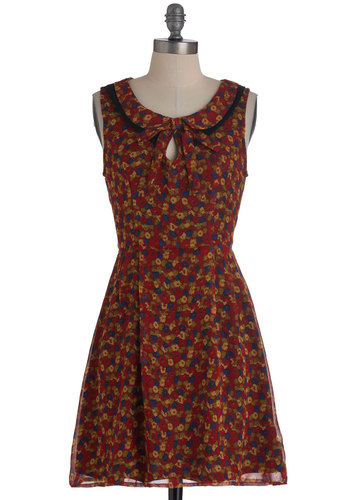 It's Verbena Real Treat Dress - Mid-length, Multi, Red, Green, Blue, Tan / Cream, Floral, Peter Pan Collar, Party, A-line, Sleeveless, Tie Neck, Scholastic/Collegiate, Collared