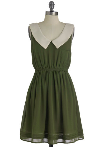 Olive Our Attention Dress - Mid-length, Green, Tan / Cream, Solid, Buttons, Pockets, Party, A-line, Sleeveless