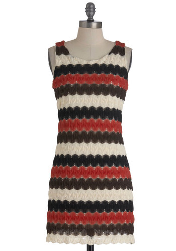 Trifle with Me Dress - Mid-length, Red, Tan / Cream, Black, Stripes, Cutout, Party, Sheath / Shift, Sleeveless, Crochet