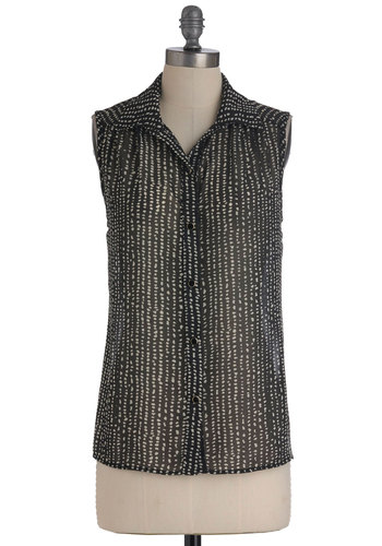Full Time Daub Top - Mid-length, Black, White, Print, Sleeveless, Casual, Sheer, Button Down, Collared