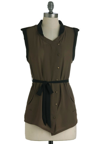 Oh-So-Cute Salute Top - Brown, Black, Buttons, Pockets, Sleeveless, Belted, Solid, Military, Mid-length