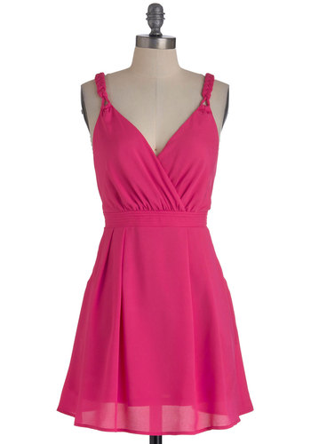 Bubblegum Drop Dress - Short, Pink, Solid, Pockets, Party, A-line, Summer, Backless, Braided, Pleats, Tank top (2 thick straps), Neon, Fit & Flare, V Neck