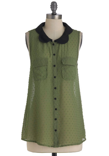 Breezy Come, Breezy Go Top - Green, Black, Peter Pan Collar, Sleeveless, Pockets, Solid, Mid-length