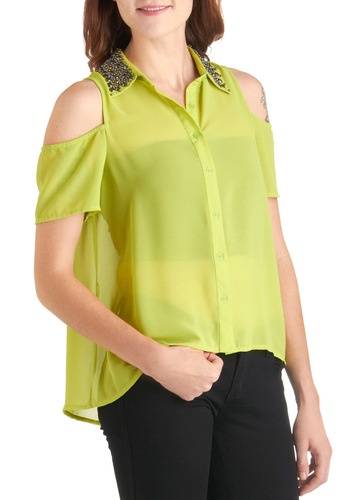 Celadon Till Dusk Top - Short, Green, Studs, Casual, Short Sleeves, Solid, 80s