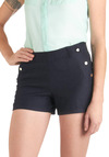 You Sailed It Shorts - Short, Blue, Solid, Buttons, Pockets, Scallops, Casual, Nautical