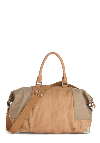Afternoon Excursion Bag - Tan, Pockets, Casual, Grey, Faux Leather