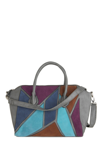 Patchwork of Art Bag - Grey, Patch, Blue, Purple, Brown, Casual, 80s, Multi, Vintage Inspired, Faux Leather