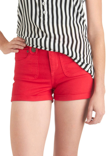 Think Gelato of You Shorts in Strawberry by Dittos - Red, Solid, Pockets, Casual, Summer, Short