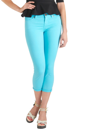 Brilliant Blue Jeans by Dittos - Blue, Solid, Pockets, Cropped, Mid-length, Denim
