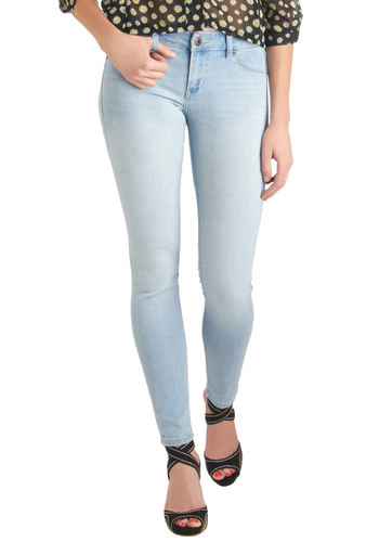 Keytar to My Heart Jeans by Blank NYC - Blue, Solid, Pockets, Casual, Skinny, Long, Denim