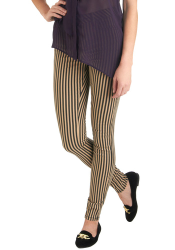 Kate's Tomboy Howdy Pants - Tan / Cream, Stripes, Pockets, Casual, Skinny, Black, Denim
