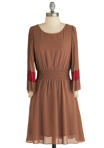 Sample 1871 - Brown, Red, Tan / Cream, Solid, Pleats, Party, A-line, Long Sleeve