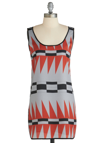 Sample 1869 - Multi, Orange, Black, Grey, Print, Party, Casual, Sheath / Shift, Sleeveless