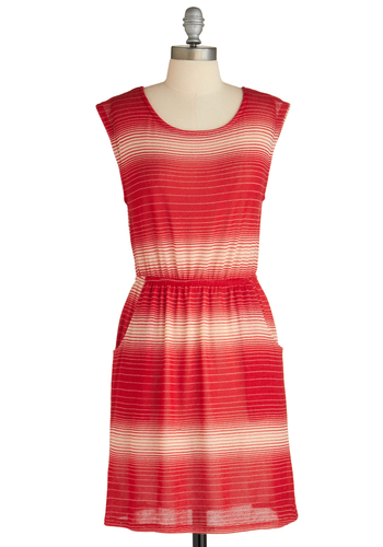 Sample 1870 - Red, White, Stripes, Pockets, Casual, A-line, Sleeveless